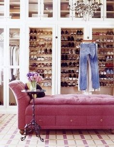 Shoe gallery  ...nice closet !! I wish this was my shoe closet:)