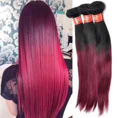 100% Human Hair Extension Ombre Virgin Hair Ombre Hair 1B BURG# 50g Straight Hot #wigiss #HairExtension
