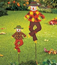 Sets of 2 Harvest Scarecrow Stakes