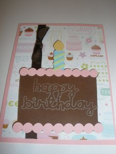 Happy Birthday Cake Card. Available on my Etsy!