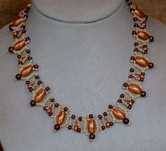Orange Ovals Beaded Necklace Pattern by Cecilia Rooke at Bead-Patterns.com