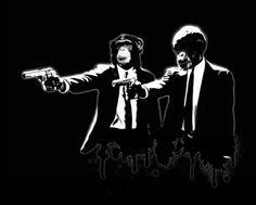monkey monkeys chimp chimps pulp fiction gun guns movie poster digital illustration cool Pop art
