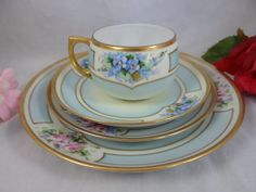 1900s Antique Hand Painted Nippon 4 Piece Pink by SecondWindShop, $27.50