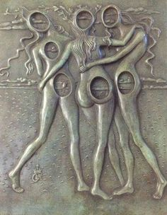 Three Graces Bas Relief Bronze Sculpture 1977 by Salvador Dali, Sculpture, Bronze-Green Florentin Patina In Oak Frame Peter Paul Rubens, Pierre Auguste Renoir, Sculptures Céramiques, Sculpture Art, Kandinsky, Picasso, Salvador Dali Kunst, Magritte, Art Moderne