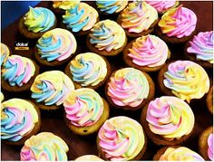 Lumo cupcakes... Meringue icing coloured with glow in the dark edible lumo powder :-)