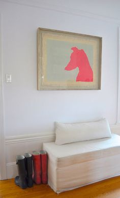 i want to do this profile project for all of our animals. love this in the entryway from a couple featured on design sponge