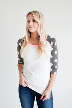 Polka Dot Sleeved Baseball TShirt - The Jean Girl Girls Jeans, Boutique Clothing, Passion For Fashion, Dress To Impress, Fasion, Style Fashion, What To Wear, Style Me, Autumn Fashion