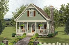 Cozy Cottage With Bedroom Loft - 20115GA | Architectural Designs - House Plans Small Cottage House Plans, House Plan With Loft, Small Cottage Homes, Small Cottages, Cottage Plan, Loft House, Craftsman Style House Plans, Cozy Cottage, Small House Plans