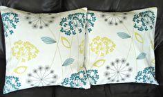Pillows dandelion clock seeds allium lemon yellow teal blue grey gray design cushion shams UK designer fabric  Two 18 inch by VeeDubz on Etsy https://www.etsy.com/listing/102712199/pillows-dandelion-clock-seeds-allium