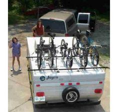 Renniks Pop-up Camper Bike Rack Source Tent Campers, Cool Campers, Camper Trailers, Jayco Pop Up Campers, Travel Trailers, Happy Campers, Camper Hacks, Diy Camper, Camper Ideas