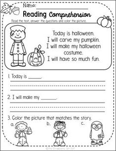These reading comprehension have a fall theme to engage your students. Reading Comprehension Worksheets, Reading Fluency, Reading Intervention, Kindergarten Lessons, Kindergarten Reading, Preschool Learning, 1st Grade Worksheets, 2nd Grade Reading, Teacher Education