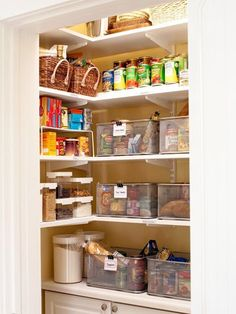 Meal Planning - Put all ingredients for one meal in a basket in the pantry (my idea: put recipe card & shopping list on outside of basket - so you can just take that to the store when out.)  This is amazing. I can't wait to move so I can organize my kitchen.
