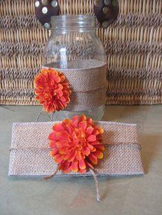 "Autumn Decorating with Burlap | AUTUMN BURLAP Mason Jar ""Sleeves"" Fall Wedding, ... | Wedding stuff ..."