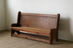 【古い教会の大きな長椅子】アンティークチャペルチェア什器棚机 Antique chair ¥50000円 〆03月26日
