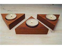 Irish Cherry Wooden Candle Holders. Set of Three