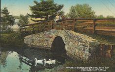 MITCHELL'S CREEK AND BRIDGE, EAST BAY TRAVERSE CITY, MICH - ORSON W. PECK