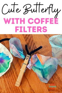 Make a cute little butterfly with coffee filters, a cheap craft that is super cute that kids love, make a craft with the supplies you have lying around, easy kids crafts, easy toddler crafts, toddler activities, kids activities, coffee filter crafts, upcycle crafts, Easy Toddler Crafts, Toddler Activities, Kids Crafts, Coffee Filter Crafts, Coffee Filters, Cute Butterfly, Beautiful Butterflies, Parenting Toddlers, Upcycled Crafts