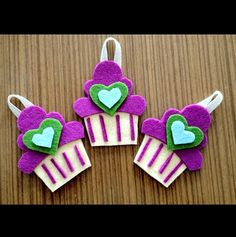 Felt pink gift handmade diy keçe pembe hediye elyapımı for girls party favor cupcake kapkek süs accessories mor purple heart kalp