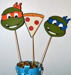 Ninja turtles and Pizza Slice themed  Birthday Party Table Toppers/ Table Centerpiece set (6). $10.00, via Etsy.
