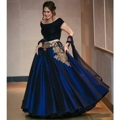 Love this plain yet modern lehenga outfit- love the navy velvet with a touch of embroidery; perfect for an indian wedding event Indian Gowns, Indian Attire, Pakistani Dresses, Indian Outfits, Indian Wear, Indian Wedding Gowns, Red Lehenga, Bridal Lehenga, Lehenga Choli