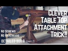 Detailed Video on how I build a table top and the clever way I attach it to the base without using any screws of metal hardware. I use a woodworking method s. Woodworking Plans, Woodworking Projects, Build A Table, Carpenter Work, Garden Yard Ideas, Farmhouse Table, Clever, How To Plan, Building
