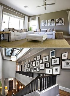 love that skylight - the wall of pictures to put by the stairs---family room top pic