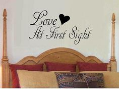 Love at first sight decal for bedroom home por WallDecalsAndQuotes