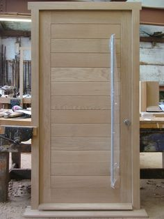 Solid oak doorset in a modern design ready to leave our UK workshop. Fitted with the new Winkhaus multipoint locking system Front Door Design Wood, Oak Front Door, Double Door Design, Front Doors With Windows, Wooden Door Design, Wooden Front Doors, Modern Front Door, Solid Oak Doors, Modern Exterior Doors