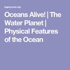 Oceans Alive! | The Water Planet | Physical Features of the Ocean