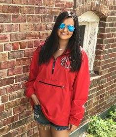 Monogrammed Jacket Preppy Charles River Pack N Go Pullover Wind Jacket with Lilly Pulitzer Monogram by TantrumEmbroidery on Etsy