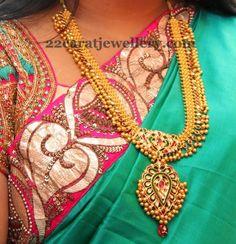 Jewellery Designs: Enamel Work Kundan Long Chain