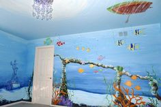underwater look bedroom | There are dolphins on the ceiling, whales (over the crib) spelling out ...