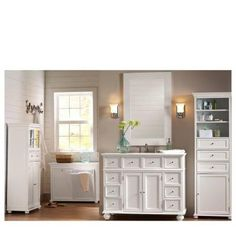 Home Decorators Collection Hampton Harbor 44 in. W x 22 in. D Bath Vanity in White with Natural Marble Vanity Top in White - The Home Depot Bathroom Vanity Cabinets, Bathroom Storage, Bathroom Shelves, Cabinet Storage, Laundry Storage, Bathroom Colors, White Bathroom, Master Bathroom, Bathroom Ideas