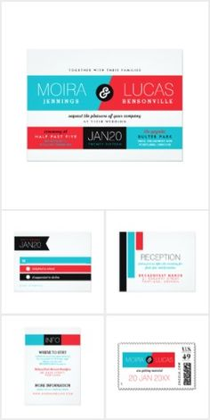 Dynamic Duo Modern Wedding Set Set the tone for an unforgettable affair when your guests' first impression is a modern invitation suite with bright and fresh blocks of color in red, blue, and black on white! This Dynamic Duo Modern wedding suite includes wedding invitations, RSVP cards, postage, stickers, reception cards, information cards, thank you gift tags, thank you note cards, and belly bands.