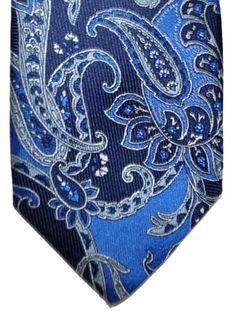 Etro Tie Navy Blue Silver Paisley Design #ETRO #ETROTIE #PAISLEYTIE