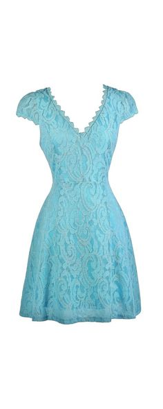 Lily Boutique Tarah Capsleeve A-Line Lace Dress in Sky Blue, $38 Sky Blue…