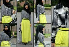 Neon skirt +  white  black stripes