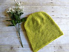 Light Green Slouch  Crochet Slouchy Beanie  by YarnOverDesign
