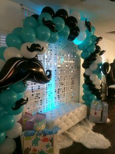 Little Gentleman Baby Shower balloon arch Baby Shower Cakes, Baby Shower Balloons, Birthday Balloons, Baby Shower Chair, Lil Man Baby Shower, Little Man Babyshower, Baby Shower Mustache, Boy Baby Shower Themes, Baby Party