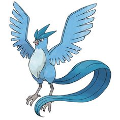 Articuno - 144 - A legendary bird Pokémon. It can create blizzards by freezing moisture in the air. A legendary bird Pokémon that is said to appear to doomed people who are lost in icy mountains.  @PokeMasters