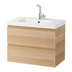"IKEA - GODMORGON / ODENSVIK, Sink cabinet with 2 drawers, white stained oak effect, 31 1/2x19 1/4x25 1/4 "", , 10-year Limited Warranty. Read about the terms in the Limited Warranty brochure.Smooth-running and soft-closing drawers with pull-out stop.You can easily change the size of the box by moving the divider.You can easily see and reach your things because the drawers pull out fully.Drawers made of solid wood, with bottom in scratch-resistant melamine.The included water trap is easy to…"