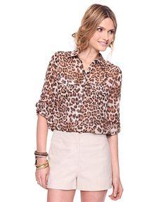 Leopard Button Up Top