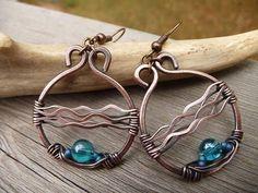 aqua blue earrings wire wrapped jewelry copper earrings blue
