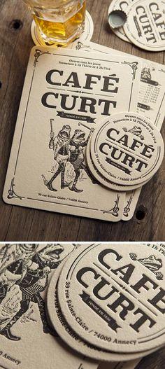 Carte des boissons et sous-bocks imprimés pour le Café Curt à Annecy - Création RL2B Design / drinks menu and coasters for a french pub
