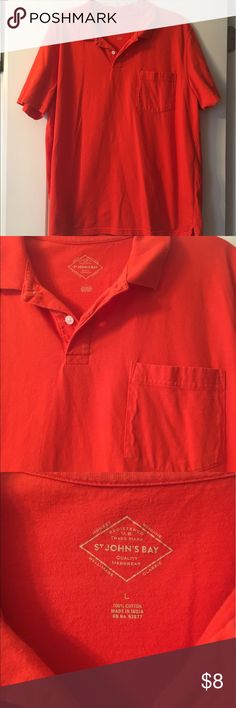 Orange Polo Orange St. John's Bay polo is in excellent condition! One pocket. 100% cotton. St. John's Bay Shirts Polos