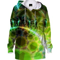 Dawn of Time, Abstract Fractal Lime and Gold Emerge  #Hoodie created by Diane Clancy | Print All Over Me #printalloverme