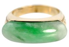 Green Jade Ring 18k Gold
