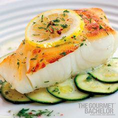 WILD STRIPED BASS, FRESH HERBS & ZUCCHINI   The Gourmet Bachelor cookbook