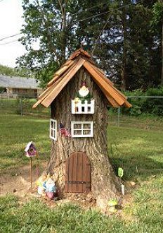 Tree stump turned Gnome home, made by my friend Michell L. Great idea!