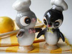 Two completely darling vintage chef hat wearing penguins make for a super adorable salt & pepper shaker set.